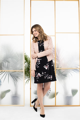 Floral print dress with pale pink structured blazer