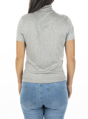 T-shirt with stand-up collar