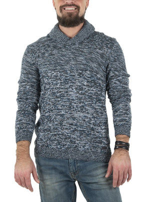 Knit sweater with shawl collar