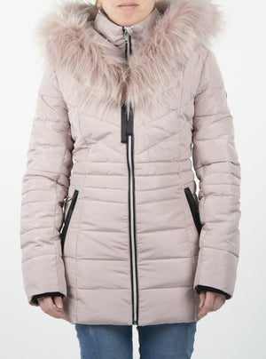 Quilted Point Zero coat with removable fur collar