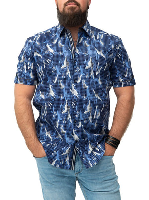 Summer shirt with abstract print   Pentagone