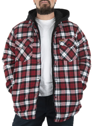 Quilted flannel hooded coat