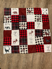 Handcrafted Buffalo Plaid with Woodland Art Baby Blanket