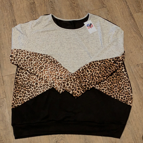 Women Plus Size Long Sleeve Shirt | Leopard Print | Trendy T Shirts