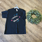 Women Tee Shirt | Aloha Beaches | Trendy T Shirts Shirts Trendy T Shirts Medium Black w/blue pink