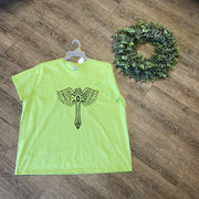 Women Tee Shirt | Cross with Wings| Trendy T Shirts Trendy T Shirts 2XL Lime Green
