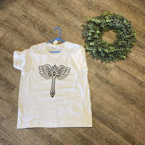 Women Tee Shirt | Cross with Wings| Trendy T Shirts Trendy T Shirts 2XL White