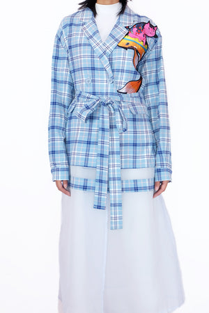 Open image in slideshow, Checkered Jacket Dress Blue