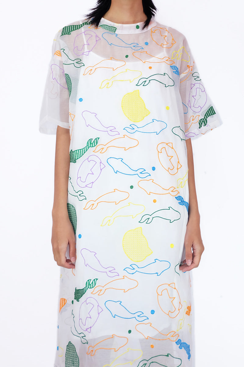 Embroidery Straight Cut Dress