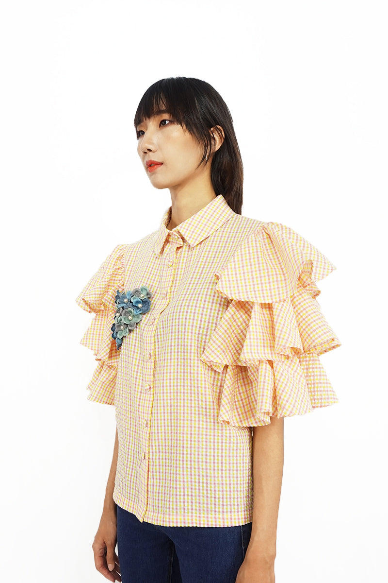 Yellow Ruffle Sleeve Shirt