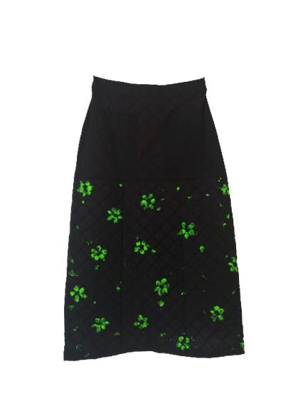 Black Quilted A-Line Skirt