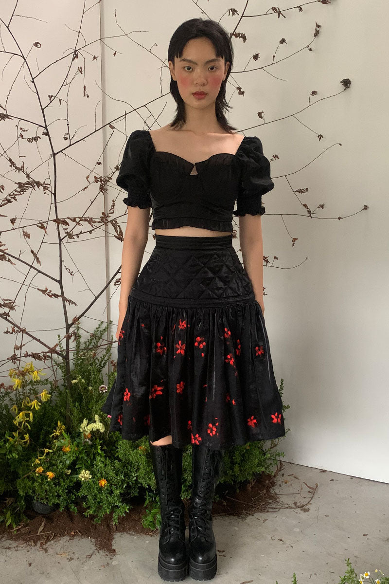 Black Shiny Quilted Skirt