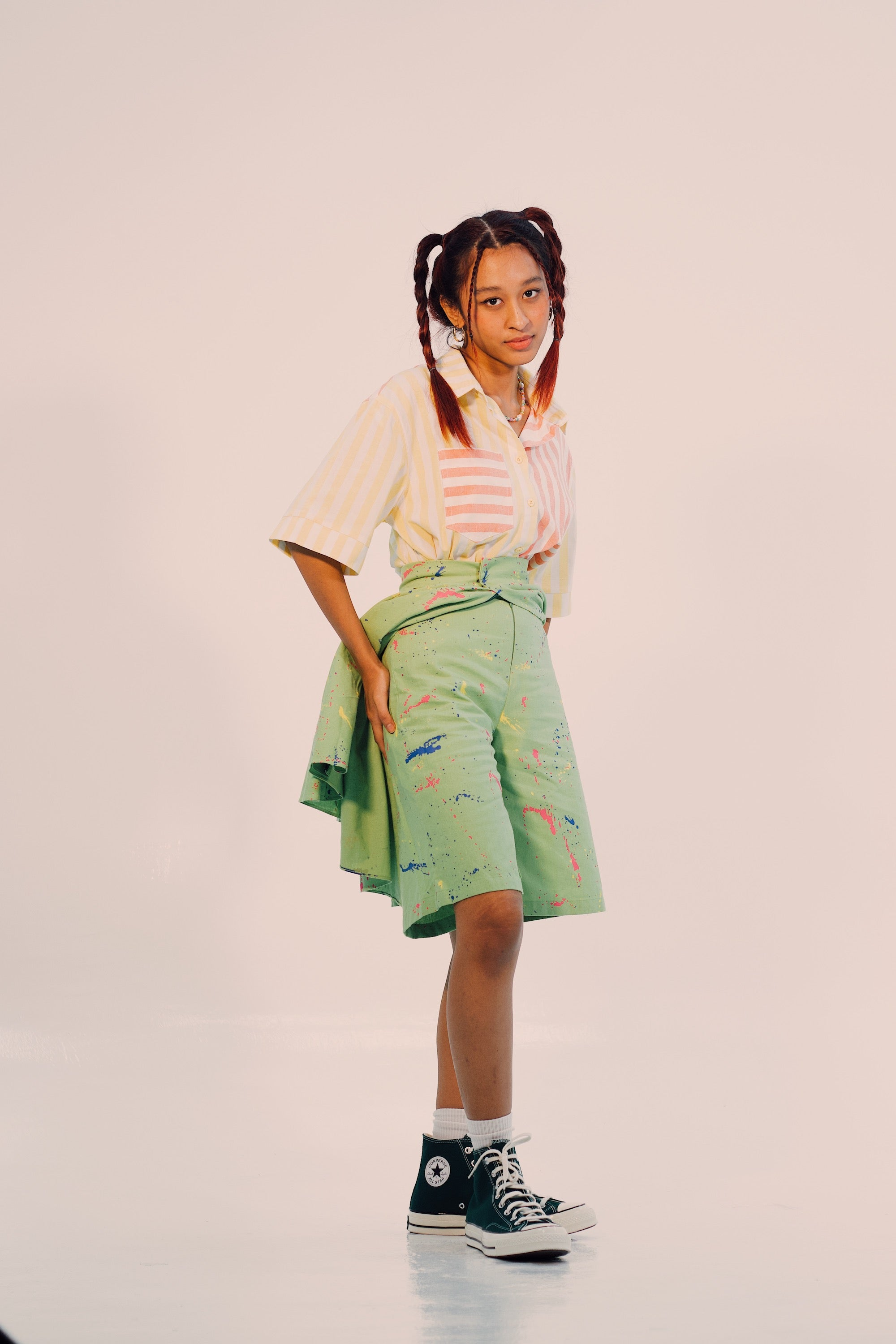 Stripe Shirt and Paint Splattered Skirt Pants 2 piece set