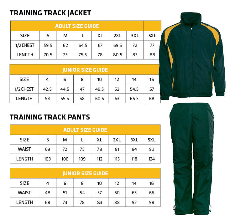 Summit Training Track Suit Size Guide