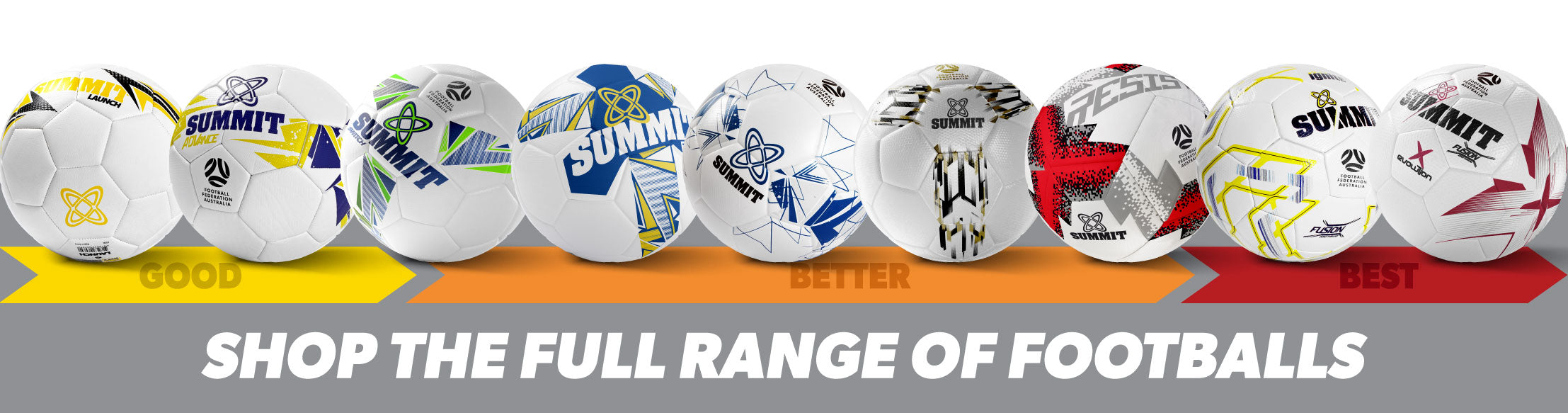 SUMMIT Sport has a full range of footballs including both 12 panel and 32 panel- shop the full range of balls here.