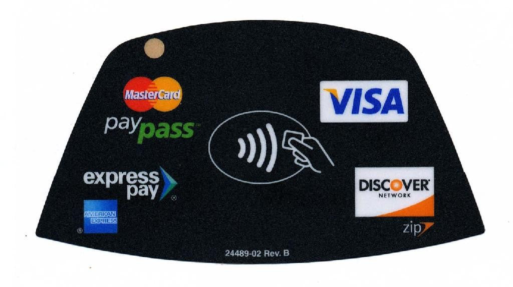 Overlay, Verifone, Mx 870 RFID Template w/ V/MC/Amex/Disc