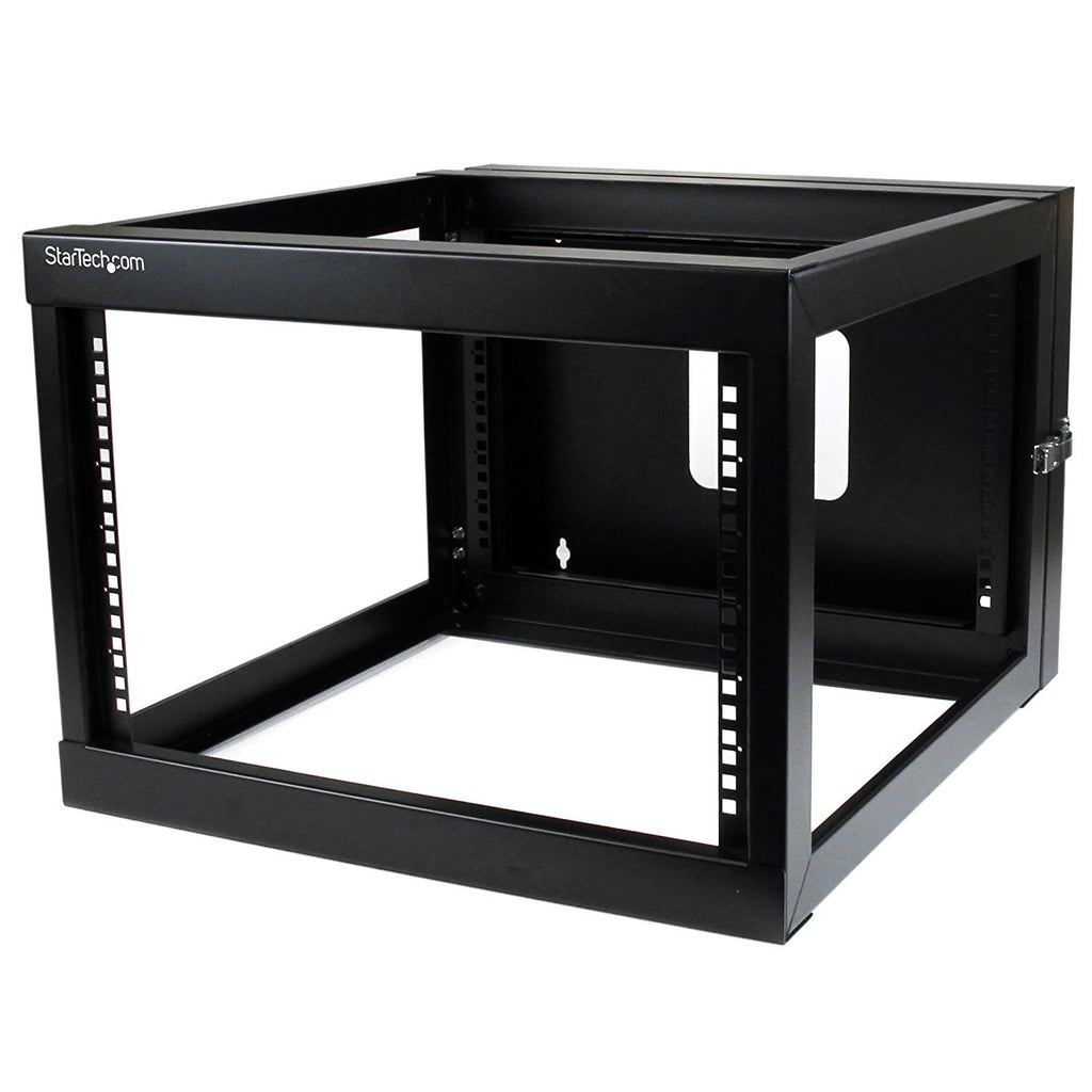 StarTech.com 6U 22-Inch Hinged Open Frame Rack Cabinet Wallmount Server Rack Components RK619WALLOH, Black