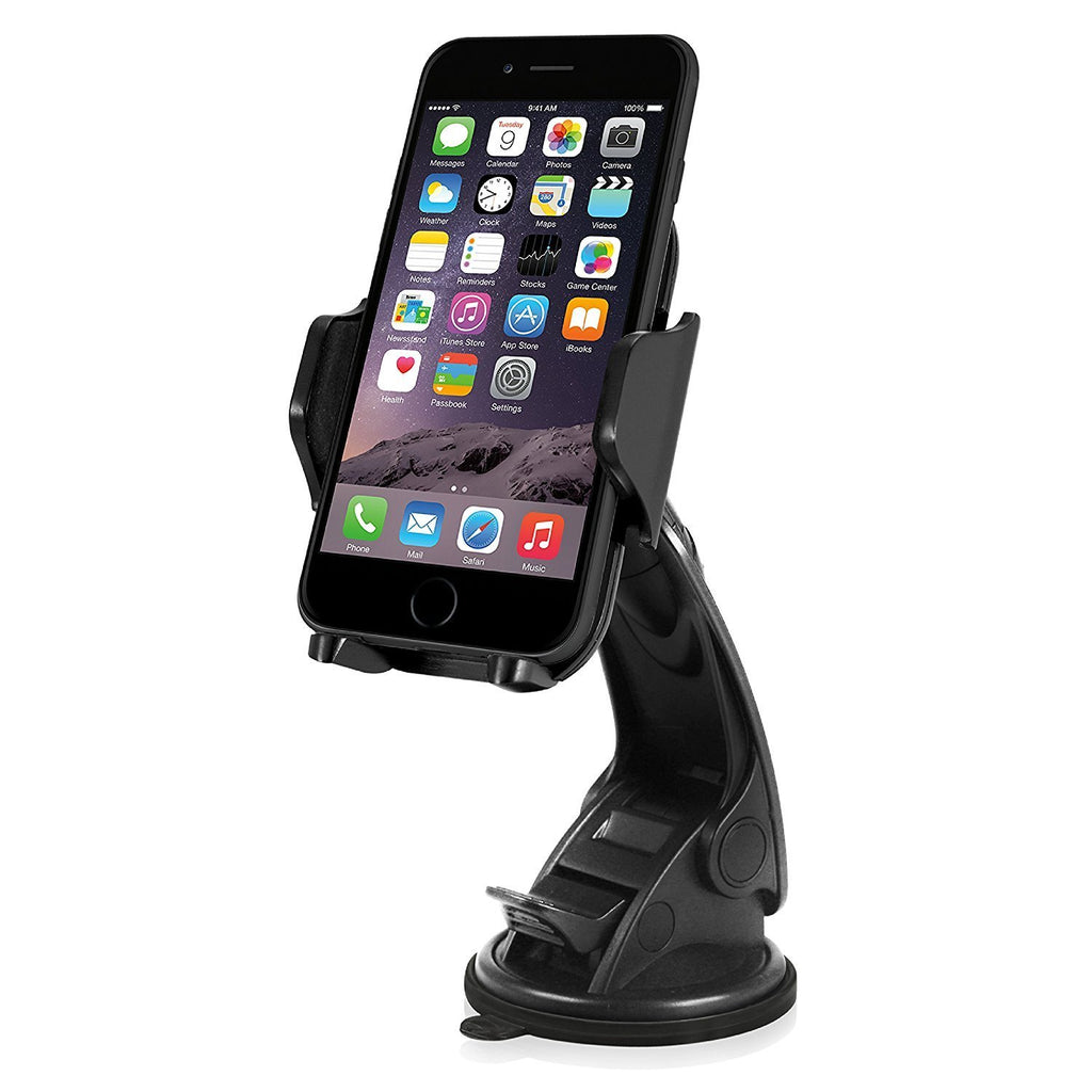Macally Dashboard / Windshield Universal Car Phone Mount Holder for iPhone X 8 8+ 7 7 Plus 6s 6+ SE Samsung Galaxy S8 S7 Edge S6 Edge Note 5, etc. (MGRIP2)