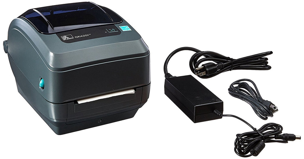 "Zebra GK420t Monochrome Desktop Direct Thermal/Thermal Transfer Label Printer with Fast Ethernet Technology, 5 in/s Print Speed, 203 dpi Print Resolution, 4.09"" Print Width, 100/240V AC"