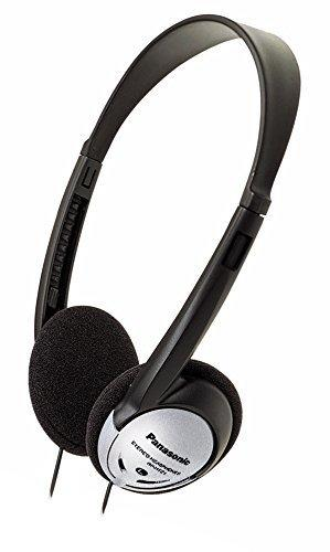 Panasonic On-Ear Stereo Headphones RP-HT21 (Black & Silver) Lightweight and Comfortable, Powerful Bass