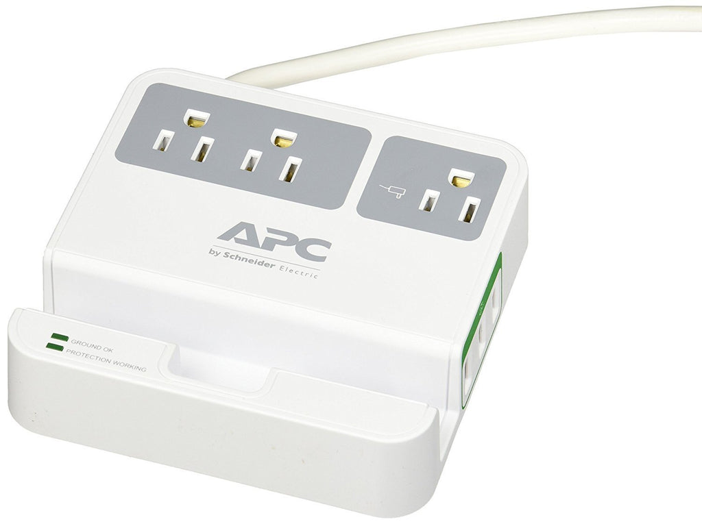 APC 3-Outlet Surge Protector 1080 Joule with 3 USB Charging Ports, SurgeArrest Essential (P3U3)