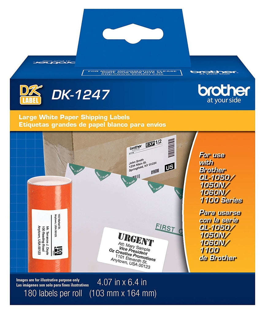 "Brother Genuine DK-1247 Die-cut Large Shipping White Paper Labels for Brother QL Label Printers - 180 Labels per Roll 4.07"" x 6.4"" (103mm x 164 mm)"