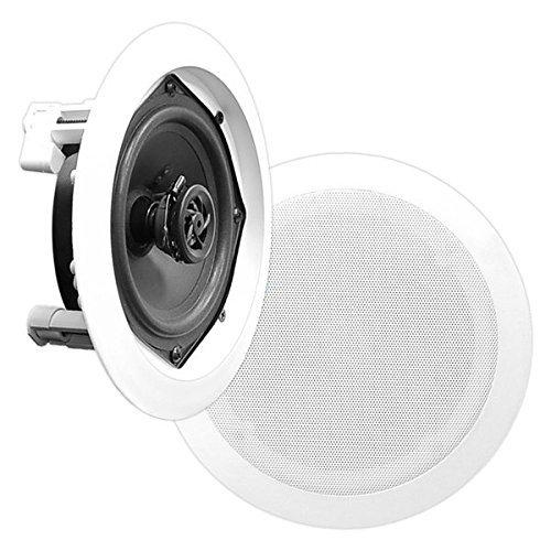 "8"" Ceiling Wall Mount Speakers - Pair of 2-Way Midbass Woofer Speaker 1'' Polymer Dome Tweeter Flush Design w/80Hz - 20kHz Frequency Response & 150 Watts Peak Easy Installation - Pyle PDIC51RDBK"