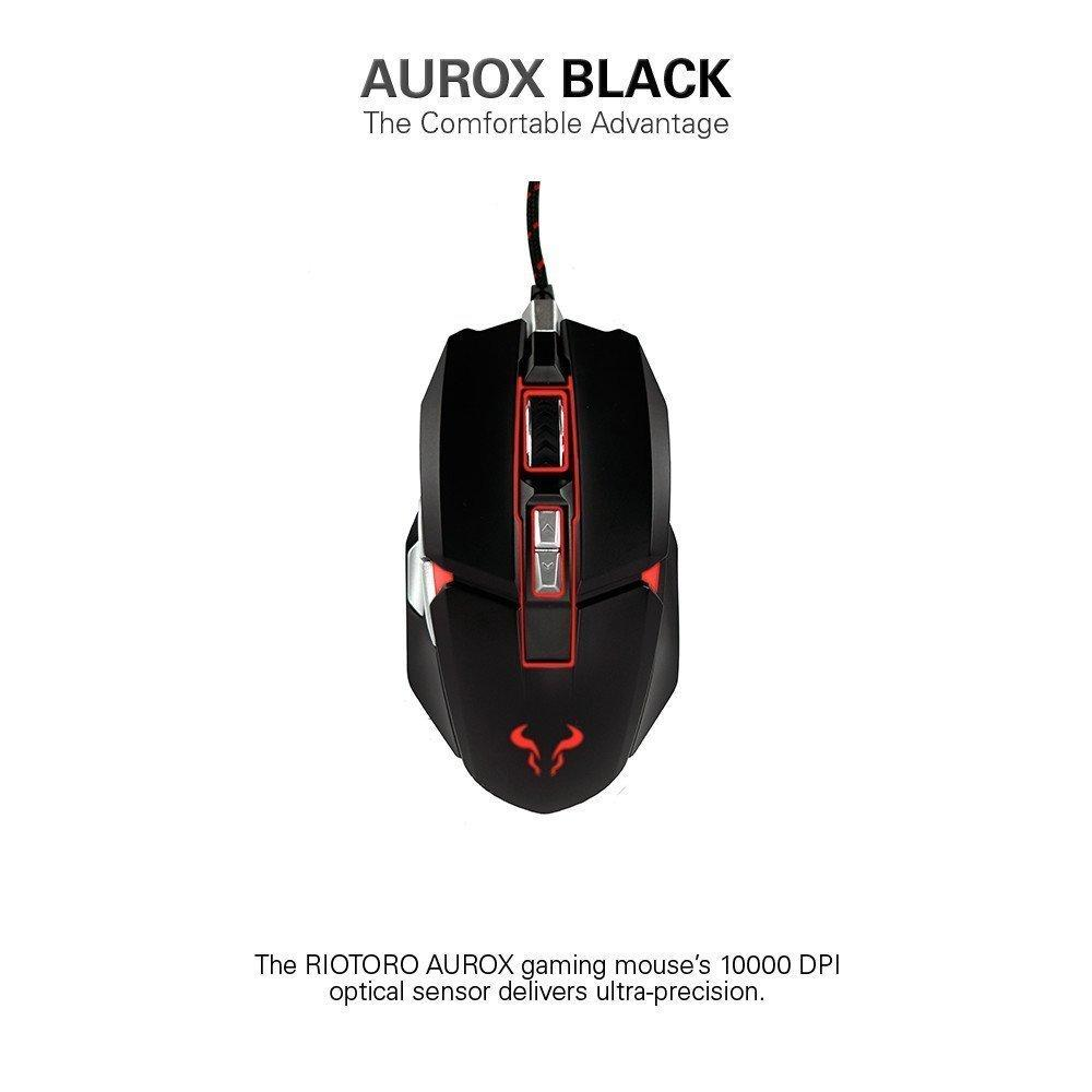 RIOTORO AUROX Gaming Mouse with RGB Multicolor Lighting, [BLACK] 8 Programmable Buttons, 10,000 DPI [MR-800XP]