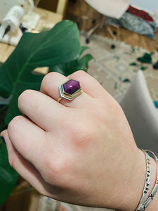 Ruby hexagon ring
