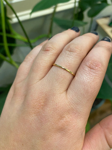 14k yellow gold stacking ring hammered