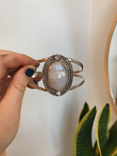 Load image into Gallery viewer, Moonstone goddess cuff with 14k yellow gold