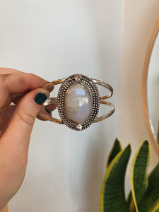 Moonstone goddess cuff with 14k yellow gold