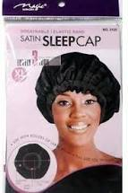 MAGIC COLLECTION SATIN SLEEP CAP BLACK [LARGE]
