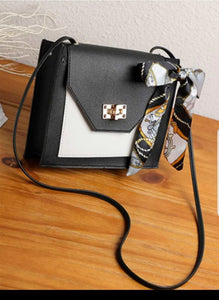 BLACK - Two Tone Crossbody Bag with Decorated Scarf