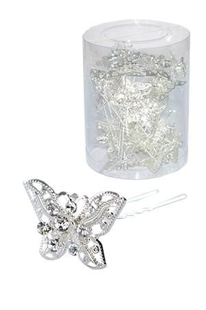 STONE HAIR PIN (20/JAR) #6727 SILVER - JAR (BUTTERFLY)