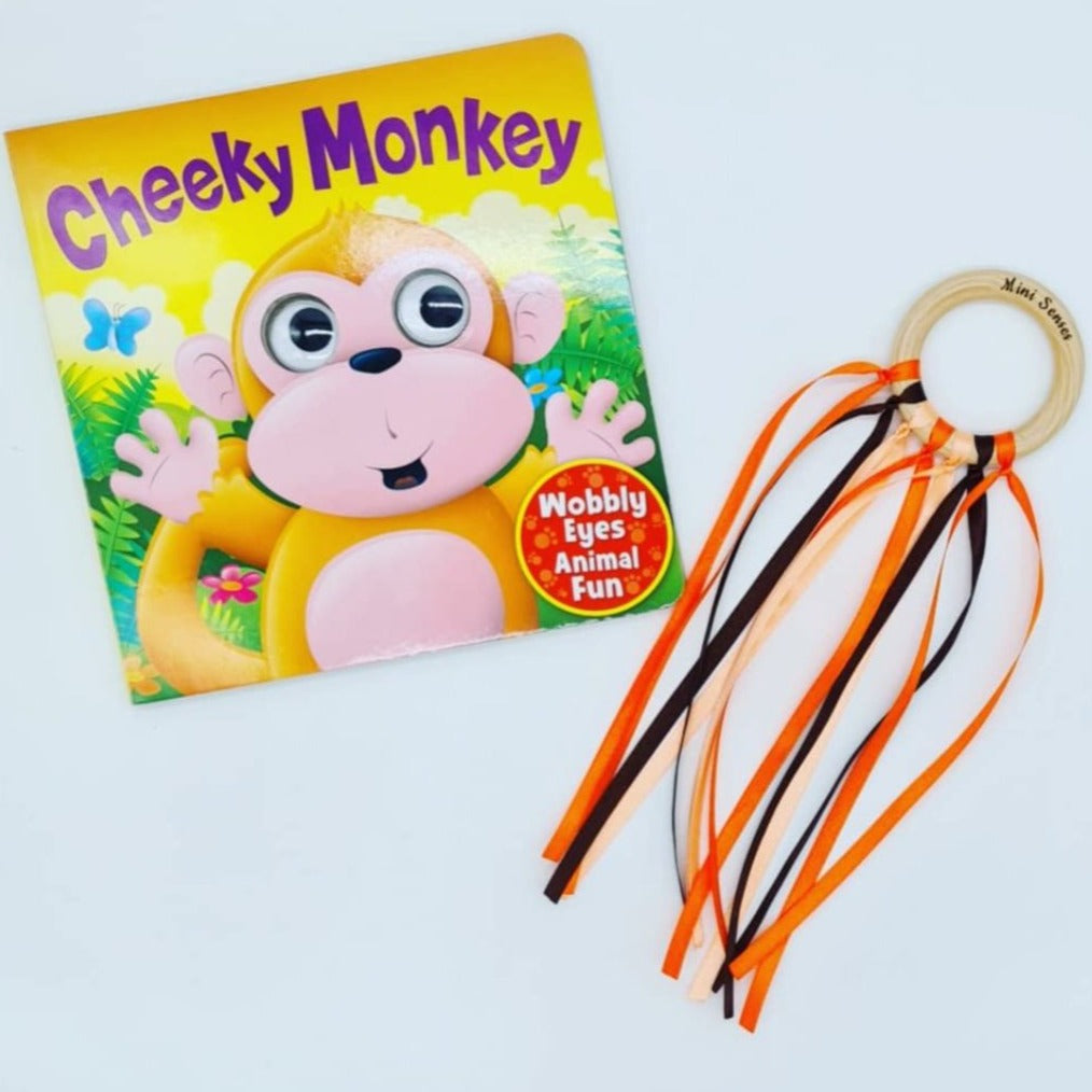 Cheeky Monkey Book & Sensory Ribbon Ring Set