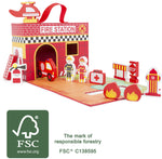 Load image into Gallery viewer, Wooden Fire Brigade Play Set