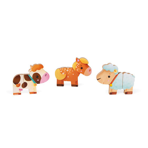 Wooden Mix & Match Farm Magnets