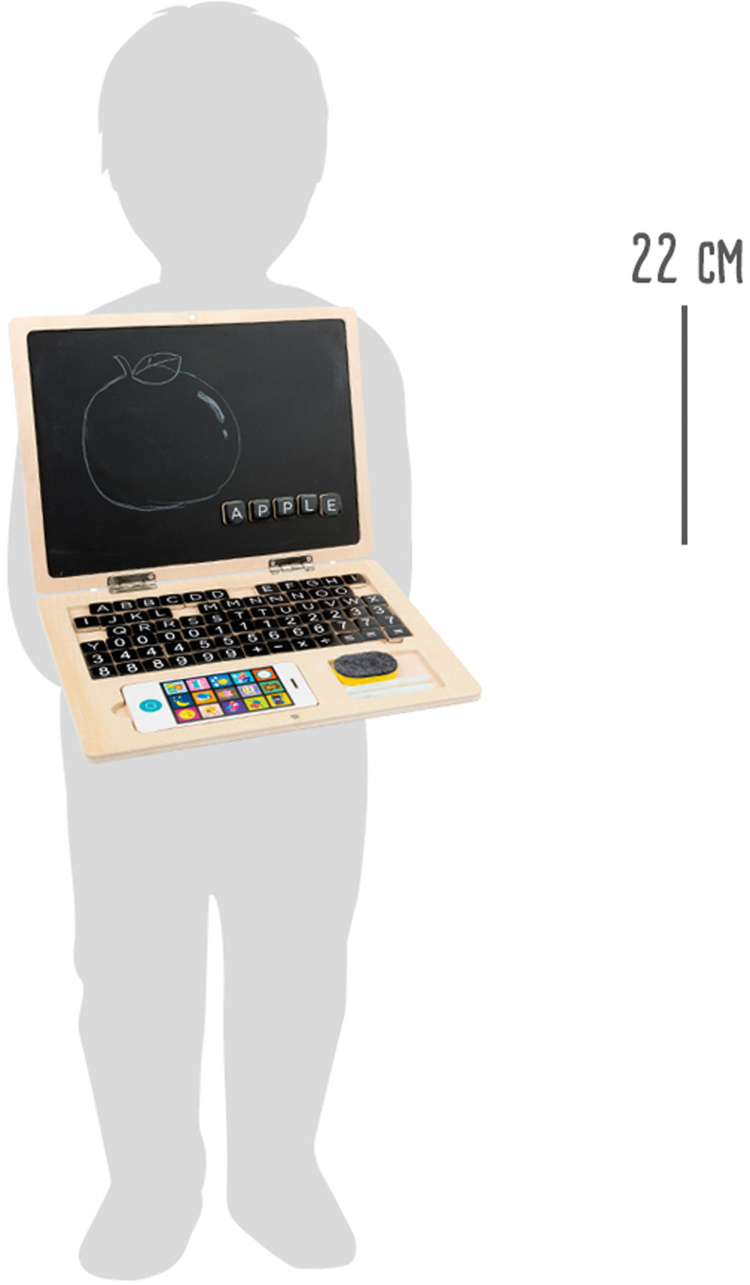 Wooden Laptop with Magnetitic Chalkboard