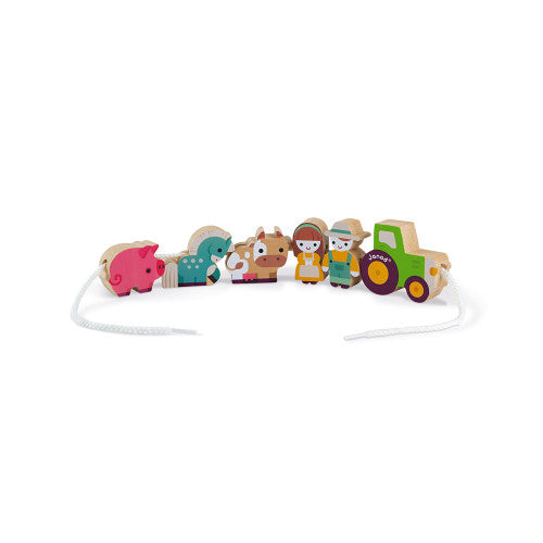 Wooden Farm Threading & Story Telling Set
