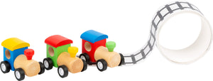 Wooden Train with Rail Track Tape