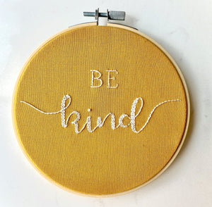 "'Be Kind ', 4"" Embroidery Hoop Art, Wall Hanging, Personalised Text, Custom Gift, Grey & Orange"