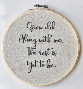 Custom quote embroidery hoop