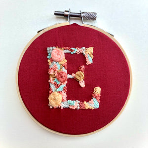 Letter E Embroidery Hoop