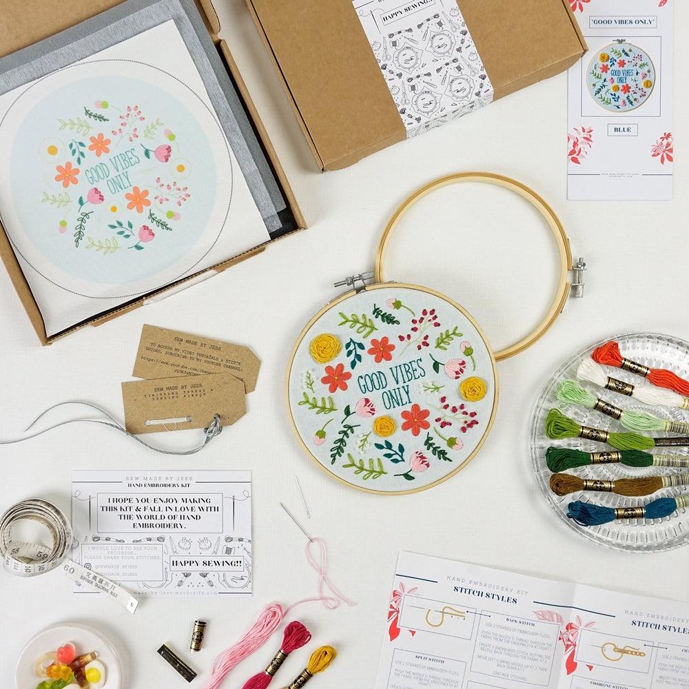 Good Vibes Embroidery Kit Contents