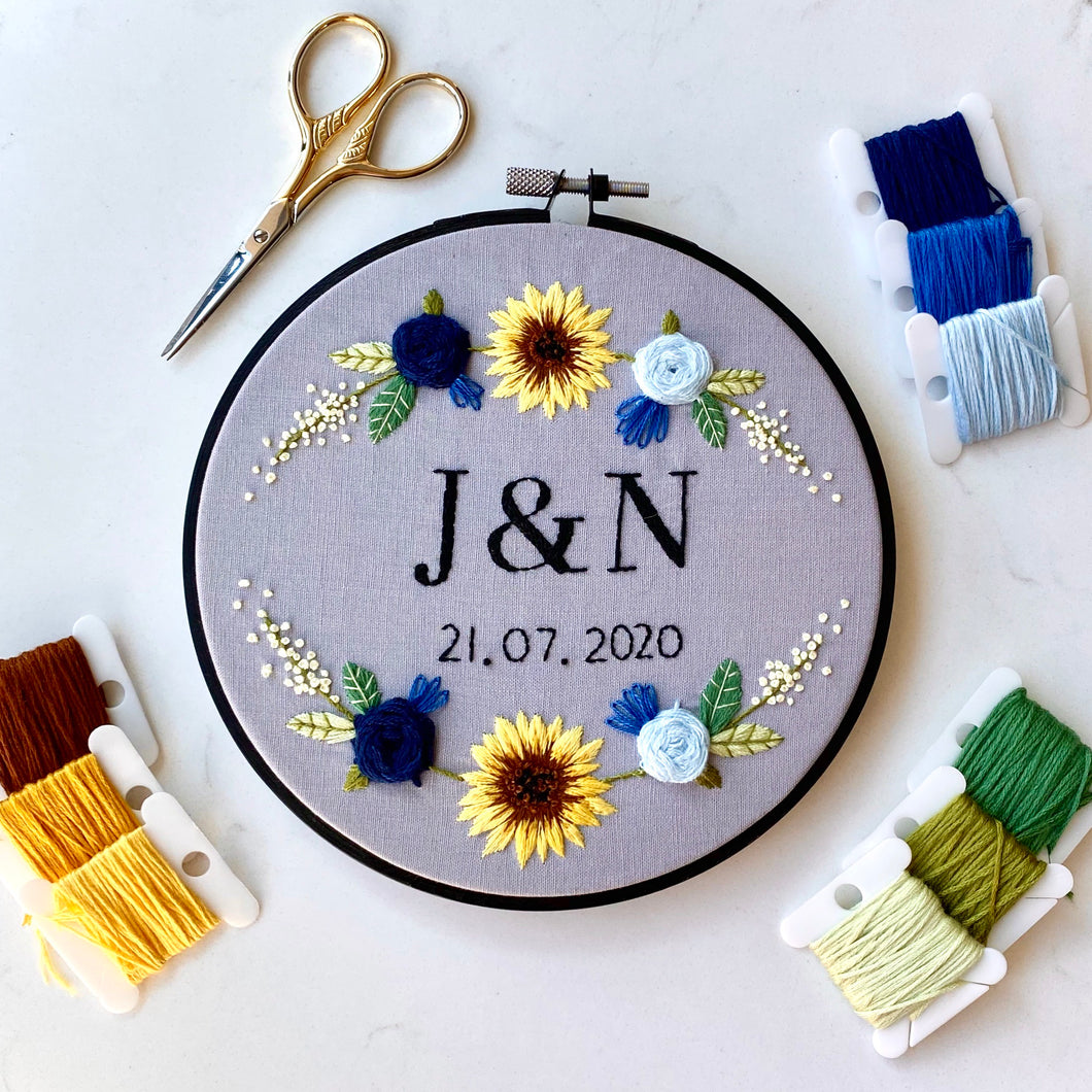 Initials & Date Floral Embroidery Hoop