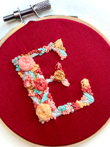 Letter E Embroidery Wall Hanging