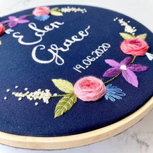 Load image into Gallery viewer, Name & date embroidery hoop