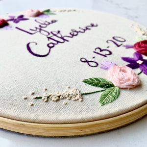 Personalised embroidery hoop