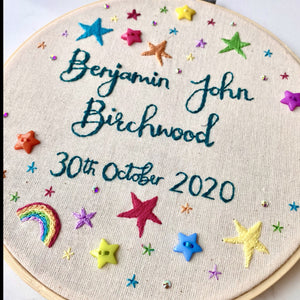 Name & date embroidery hoop